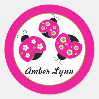 Hot Pink Bright Olive Ladybugs Round Sticker