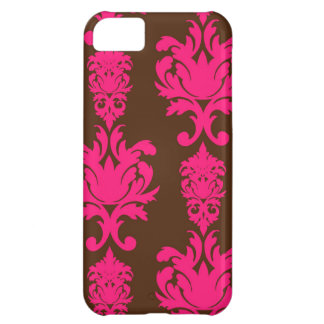 Hot pink & brown neon damask floral girly pattern iPhone 5C cover