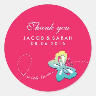 Hot Pink Butterfly Swirl Wedding Thank You Sticker