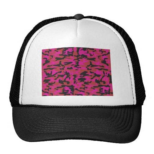 Hot pink camo pattern hats