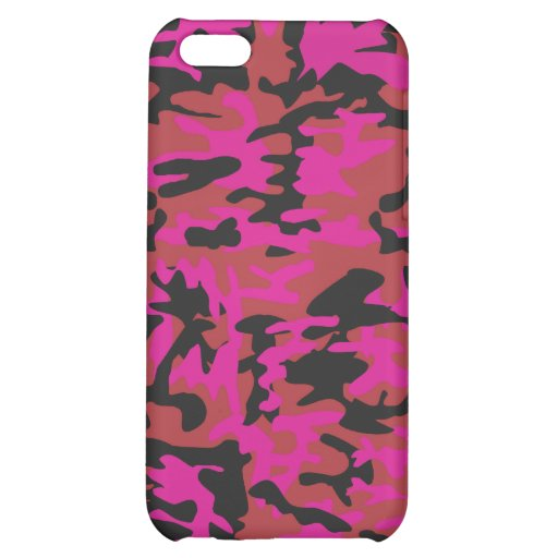 Hot pink camo pattern cover for iPhone 5C
