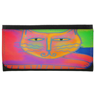Hot Pink Cat Abstract Art Wallet