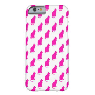 Hot Pink Cat Pattern Cats Texture White Barely There iPhone 6 Case