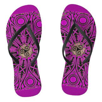 Hot Pink Celtic Mandala With Triskele Flip Flops