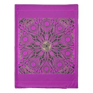 Hot Pink Celtic Triskele Mandala Duvet Cover