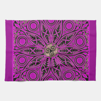 Hot Pink Celtic Triskele Mandala Hand Towels