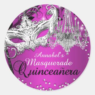 Hot Pink Chandelier Masquerade Quinceanera Sticker