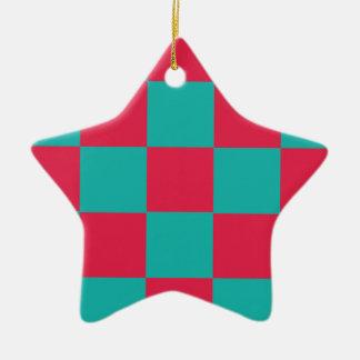 Hot Pink Checkerboard Ceramic Ornament
