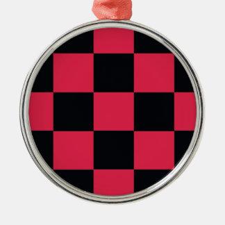 Hot Pink Checkerboard Metal Ornament
