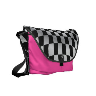 Hot Pink Checkered Flag Racing Messenger Bag