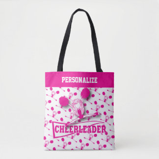 Hot Pink Cheerleader Girl Tote Bag