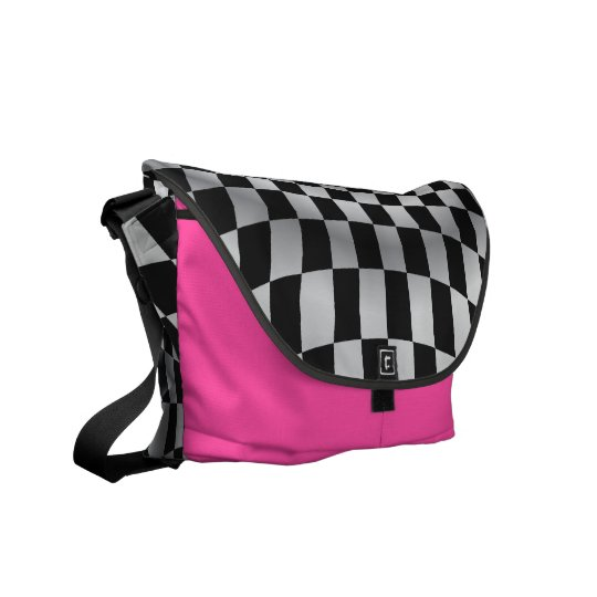 Hot Pink Chequered Flag Racing Messenger Bag