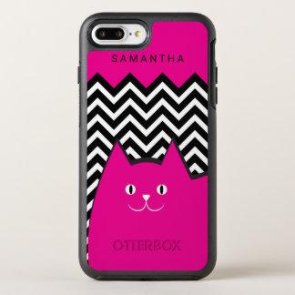 Hot Pink Chevron Kitty Cat Text OtterBox Symmetry iPhone 7 Plus Case