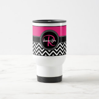 Hot Pink Chevron Monogram Jennifer R Chic Travel Mug