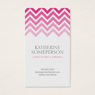 Hot Pink Chevron Ombre Mom Calling Cards