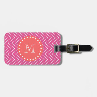 Hot Pink Chevron Pattern | Coral Monogram Luggage Tag