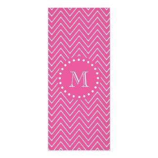 "Hot Pink Chevron   Your Monogram 4"" X 9.25"" Invitation Card"