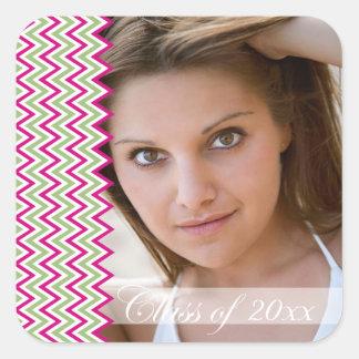 Hot pink chevron zig zag photo graduation stickers