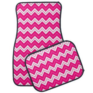 Hot Pink Chevron Zigzag Pattern Car Floor Carpet