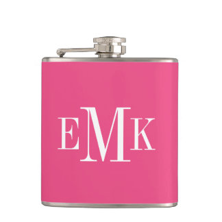 Hot Pink Classic Monogram Hip Flask