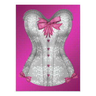 Hot Pink Corset Bachelorette Party Card