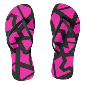 """Hot pink """"cracked"""" design flip flops"""