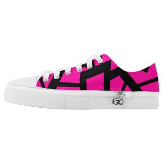 "Hot pink ""cracked"" design shoes"