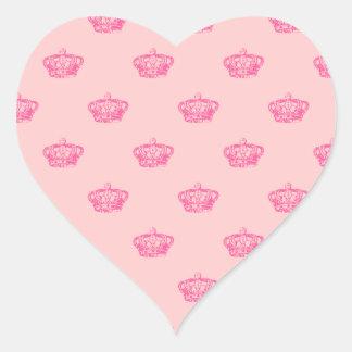 Hot Pink Crowns Heart Sticker