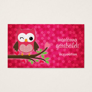 Hot Pink Cute Owl Girly Business Card