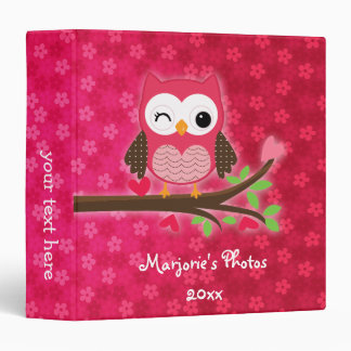 Hot Pink Cute Owl Girly Personalized 3 Ring Binder