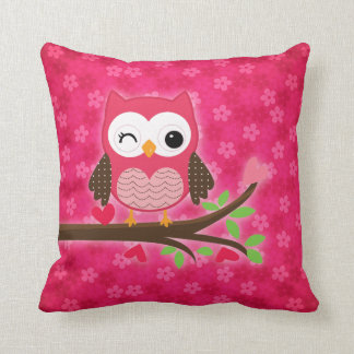 Hot Pink Cute Owl Girly Personalized Throw Pillow