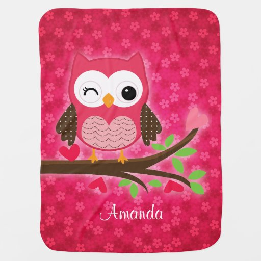 Hot Pink Cute Owl Girly Swaddle Blankets