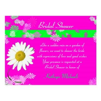 Hot Pink Daisy Bridal Shower Postcard