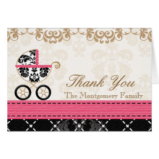 HOT PINK Damask Baby Carriage Shower Thank You Card