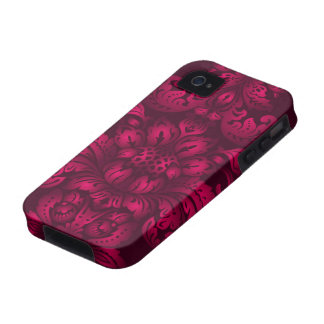 Hot Pink Damask iPhone 4 Cases