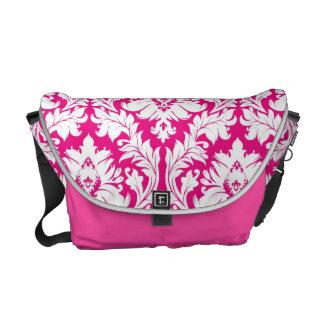 Hot Pink damask Commuter Bag