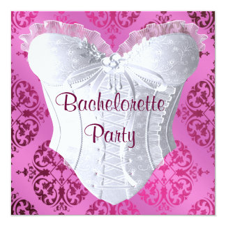 Hot Pink Damask Corset Bachelorette Party Card