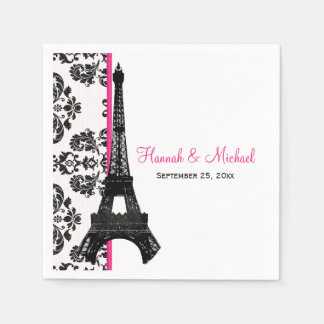 Hot Pink Damask Eiffel Tower Wedding Disposable Napkin