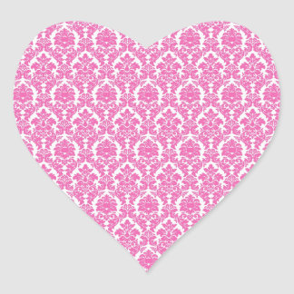 Hot Pink Damask Heart Sticker Envelope Seal