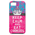 Hot Pink Damask KEEP CALM AND Eat Cookies iPhone 5 Case