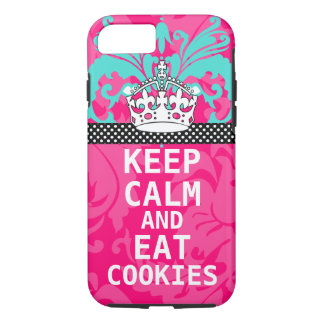 Hot Pink Damask KEEP CALM AND Eat Cookies iPhone 7 Case