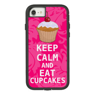 Hot Pink Damask KEEP CALM AND Eat Cupcakes Case-Mate Tough Extreme iPhone 8/7 Case