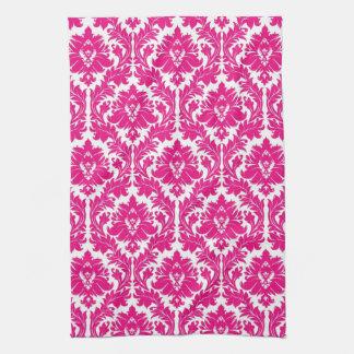 Hot Pink Damask Kitchen Towel