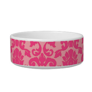 Hot Pink Damask Lace Pattern Cat Bowl