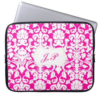 Hot pink damask laptop case with custom initials