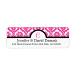 Hot Pink Damask Monogram C Address Labels