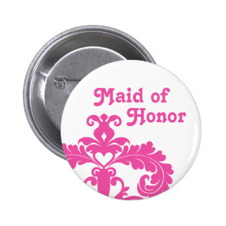 Hot pink damask on white Maid of Honor wedding 2 Inch Round Button