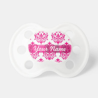 Hot pink damask pacifier