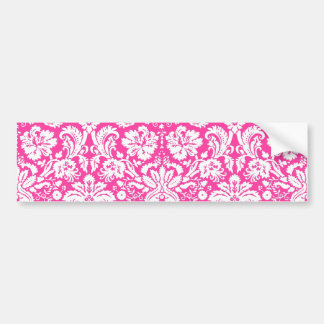 Hot pink damask pattern bumper sticker