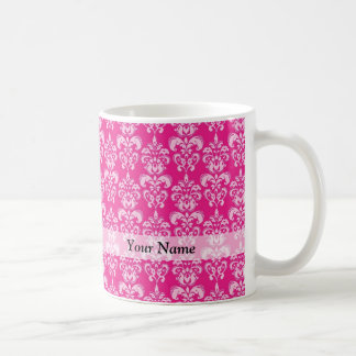Hot pink damask pattern coffee mug